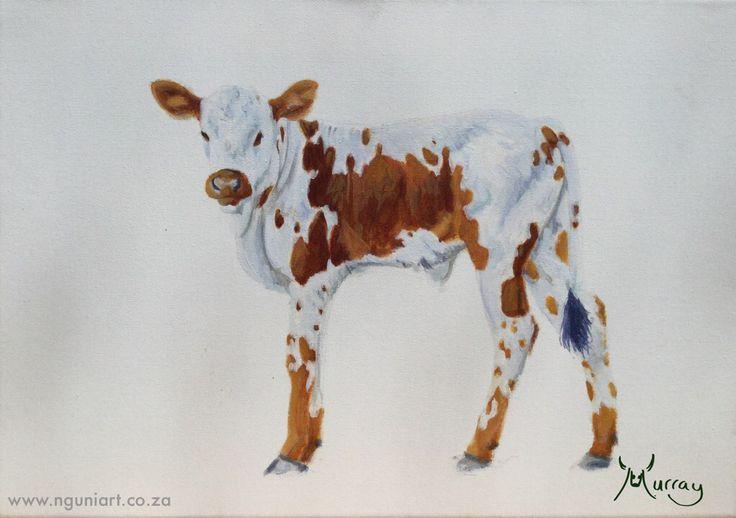 Nguni Calf Oil Painting  Size: A3 www.nguniart.co.za