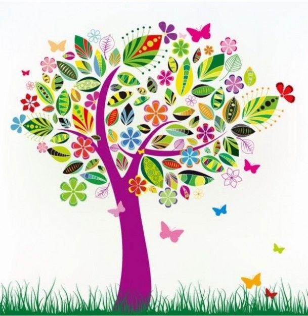 Colorido árbol de hojas estampadas   Descargar Vectores gratis
