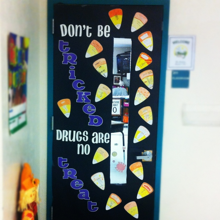Red ribbon week Halloween themed bulletin board! And the