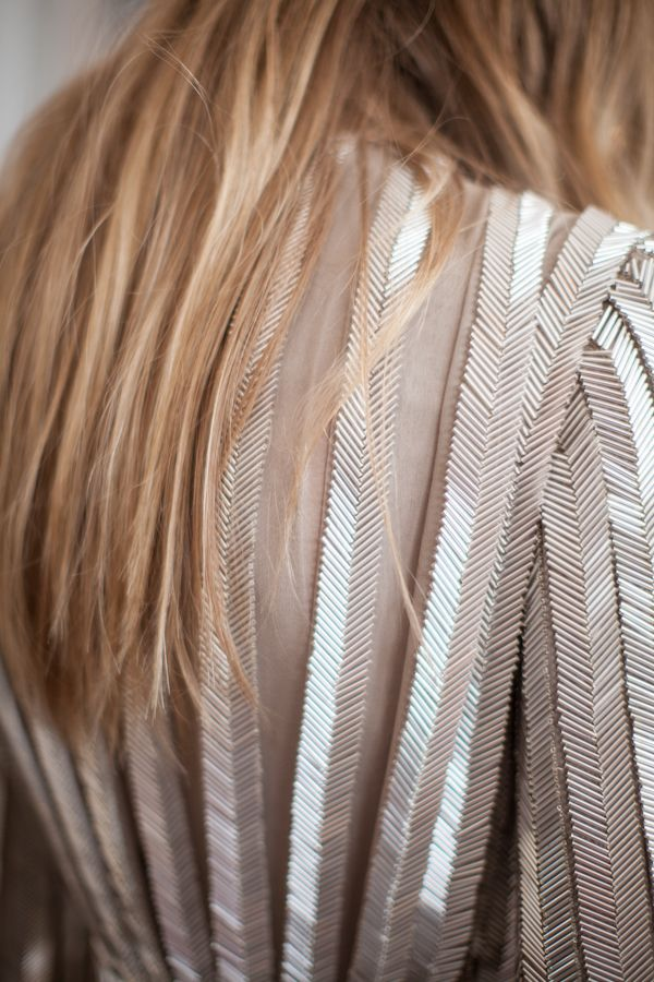 Herringbone pattern pleated chiffon with bugle beads. AW2012.