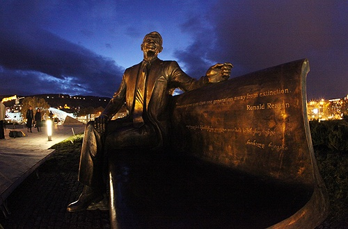 A statue to former U.S. president Ronald Reagan in Tbilisi.