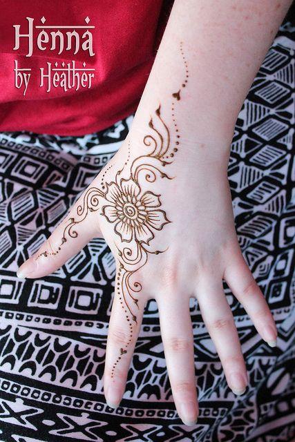 www.HennaByHeather.com    simple flower and swirl henna design