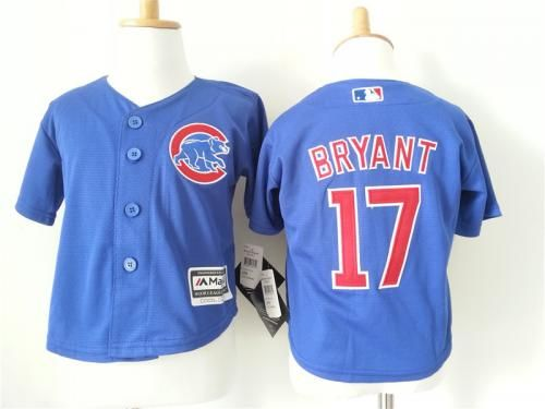Chicago Cubs 17 Kris Bryant Blue Toddler New Cool Base Jersey