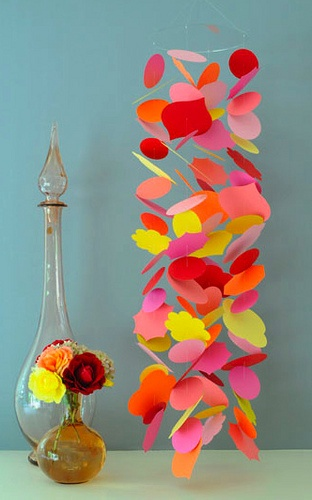 Colourful paper mobile