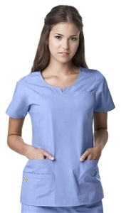 "Wink Women's ""Lady"" Fit Notched Round Neck Scrub Top 6046 Wink Women's ""Lady"" Fit Notched Round Neck Scrub Top    • ""Lady"" Fit Notched Round Neck Top  • 2 Lower Pockets including 1 WonderWink signature pocket with a hidden mesh pocket and one invisible chest pocket (total 6)  • Signature ID bungee loop  • Invisible 3 part accessory loop  • Front seaming for added shaping  • Double-stitch detailing at neckline, yoke, front seams,  and chest pocket    65% Polyester/ 35%Cotton $18.99  #scrubs…"