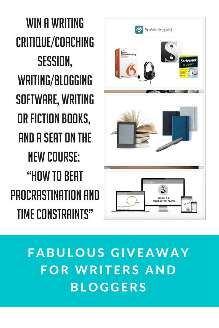 "Win a 1000€ writer's package including:  A free writing critique/coaching session with me, Alex (written feedback + 30 min Skype call),  Writer's software package: Scrivener, Dragon Naturally Speaking Premium (+Headset), Lifetime Subscription to Pro Writing Aid, 300€ voucher for writing books/fiction books/writing paraphernalia (e.g. pens, notebooks, ink sets…) of your choice,  An exclusive seat in my brand new online course ""How to beat Procrastination and Time Constraints"""