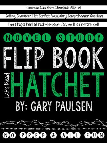 Looking for an engaging and unique way to teach a novel study with the book Hatchet by Gary Paulsen? Try this novel study flip book with your students!