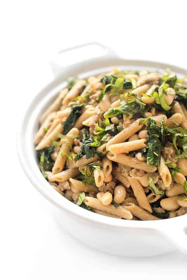 Sausage and Kale Pasta with White Beans
