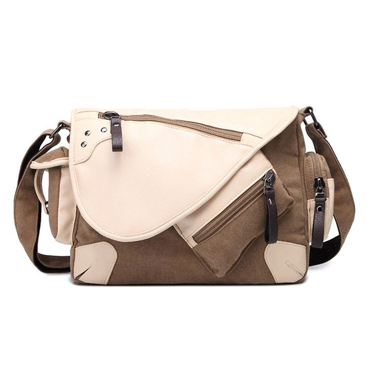 Walk Arrive Canvas School Messenger Bag Casual Shoulder Crossbody Bag for College * Check this awesome product by going to the link at the image.