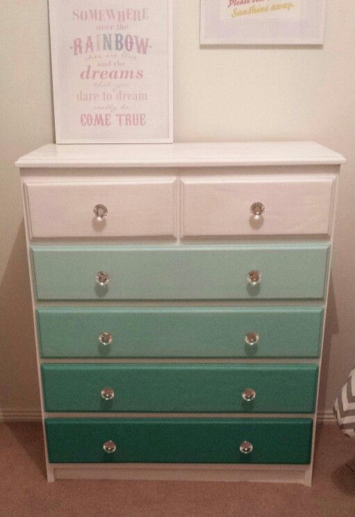 Ombre drawers for bubs room