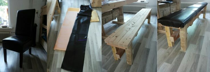 Broken springs in the chair gave me an opportunity to refurbish the bench.