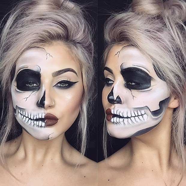 Terrifyingly Cool Skeleton Makeup Idea for Halloween