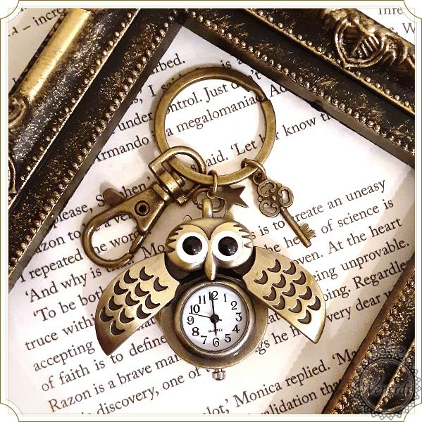懐中時計キーホルダー フクロウ 懐中時計 フクロウ キーホルダー