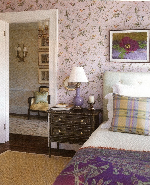 Lavender wallpaper bedroom hummingbirds cole son for Wallpaper traditional home