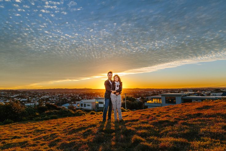 Newcastle Engagement photo, couple with amazing sunset on what is now the Anzac Walk!