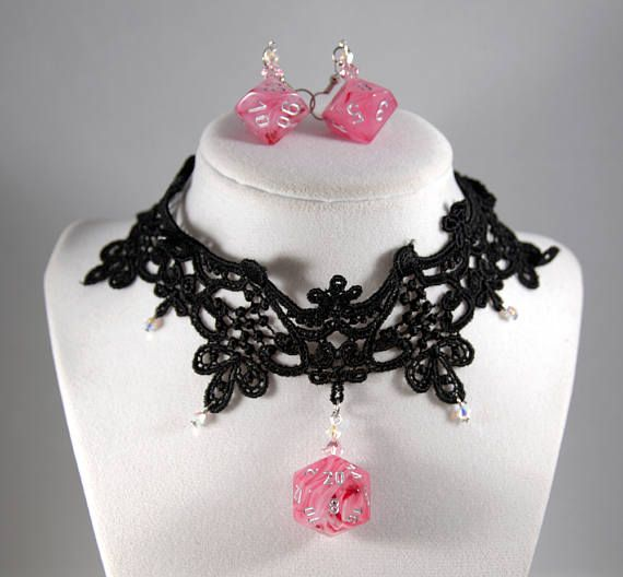 Ghostly Glow Pink D20 and D10 Dice Necklace and Earrings Set