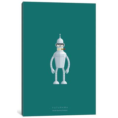 East Urban Home 'Famous Robots Series: Futurama (Bender Bending Rodriguez)' Graphic Art Print on Canvas Size: