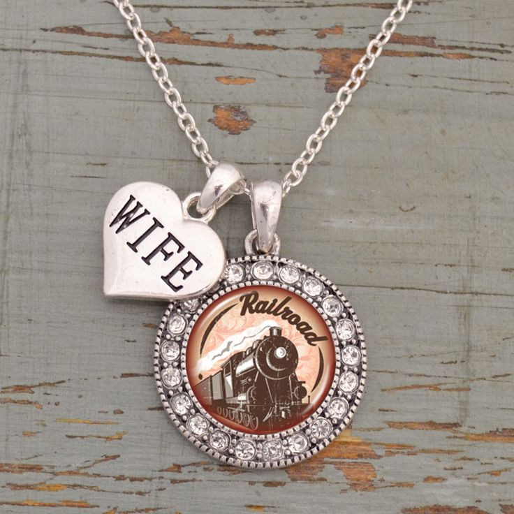 Custom Loved One Railroad Artisan Necklace, $9.98! // Would make a great gift for anyone with a loved one on the rail line Accent charms come in wife, daughter, mom, aunt, etc.