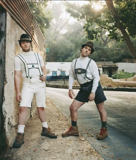 Seth Rogen and Paul Rudd ... or leiderhosen, as the case may be ;)