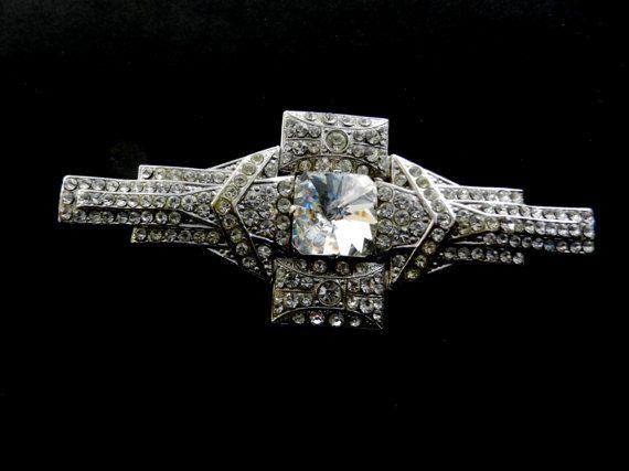 Large Deco Diamante geometric line brooch-Square by RAKcreations