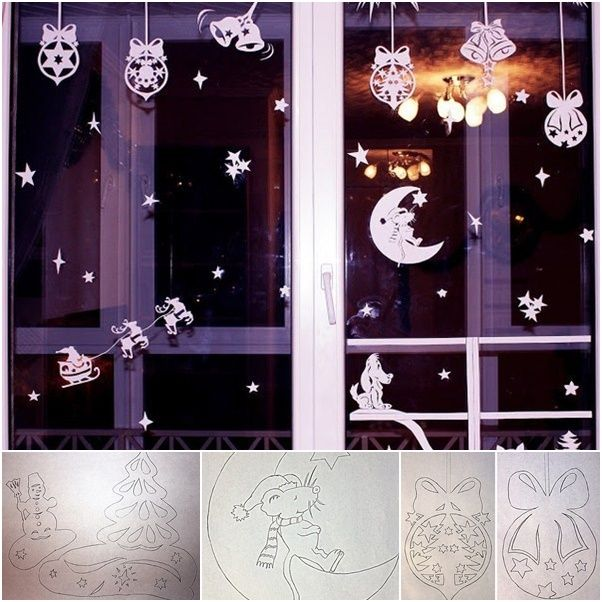 How to DIY Paper Christmas Window Decorations from Free Template