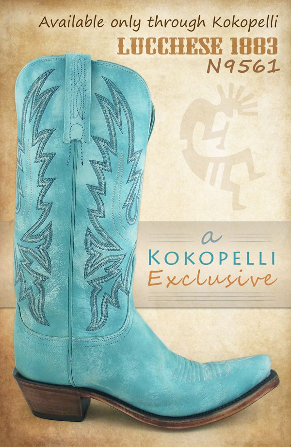 A Lucchese cowboy boot we designed: Distressed Emerald Blue! We simply love these turquoise boots.