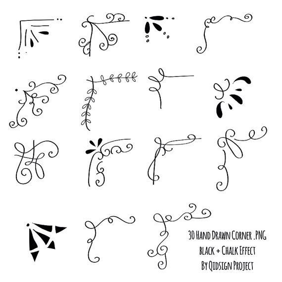 30 Hand drawn corner clipart chalk and black Scrapbook embellish Invitation Chalkboard Blog graphics commercial use