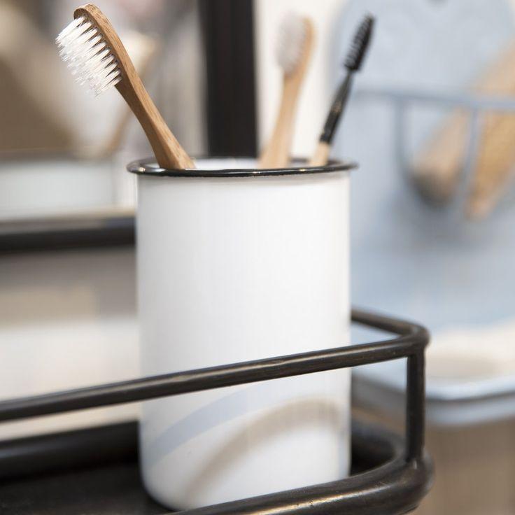 Traditional White Enamel Toothbrush Holder