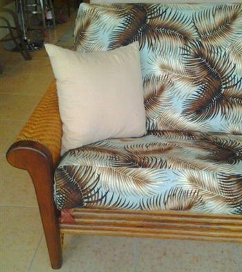 Rattan Rosebud Futon Sofa With Mana Sea Foam Cover Hawaiian Bark Cloth Turns Any Home