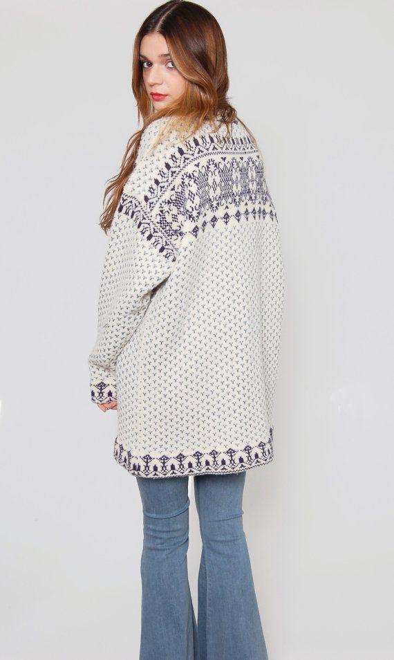 Vintage FOLK Sweater White Norwegian Ethnic Wool by LotusvintageNY