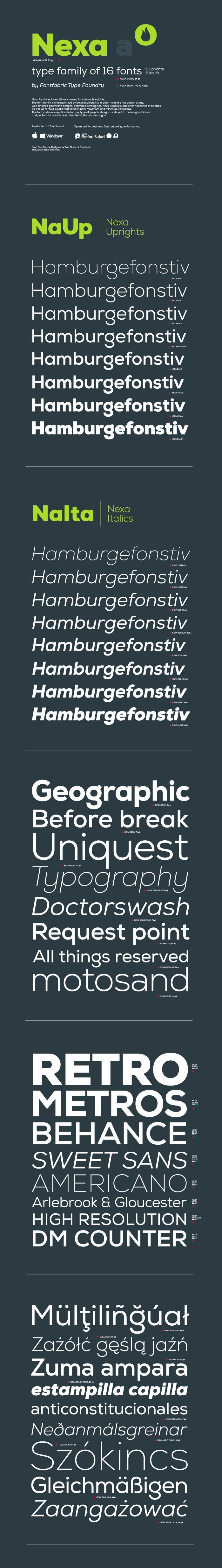 Nexa Font Free Nexa family includes 16 very unique font styles & weights. The font family is characterized by excellent legibility in both – ...