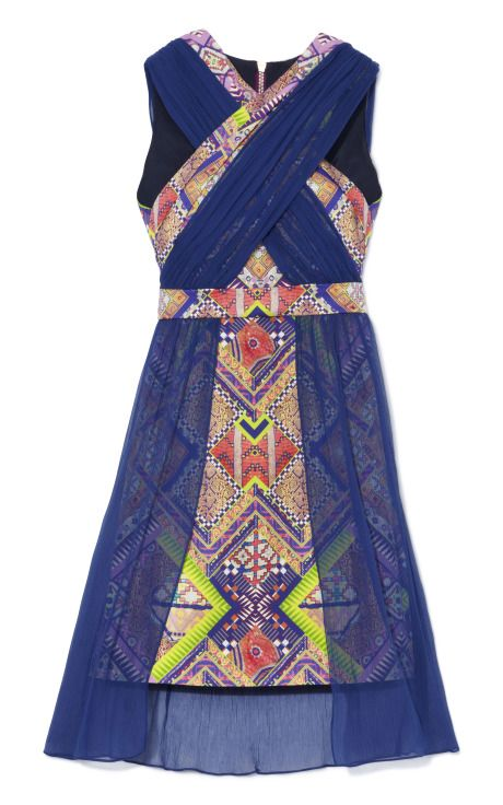 DESIGNER: MATTHEW WILLIAMSON  SEE DETAILS HERE:Raj Patchwork Stretch Cotton Sari Drape Chiffon Cocktail Dress