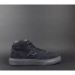 Hogan   Sneakers Uomo H365 Hi Top Camoscio Tela Blu Prezzo 300 011f785d060