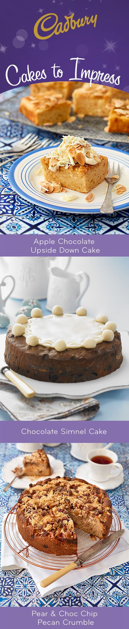 Pin copy - Whether you're baking for a celebration, a family get-together, or a Birthday party at home, these decadent cake recipes won't let you down! #bakeitcadbury #baking #chocolate #dessert #cakes