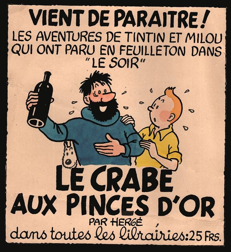 """Serlization of """"The Crab with the Golden Claws"""" in """"Le Soir."""" 