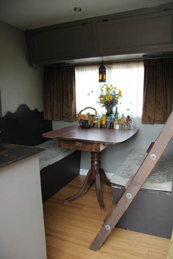 great idea for a table in a vintage camper via the winnebago diaries