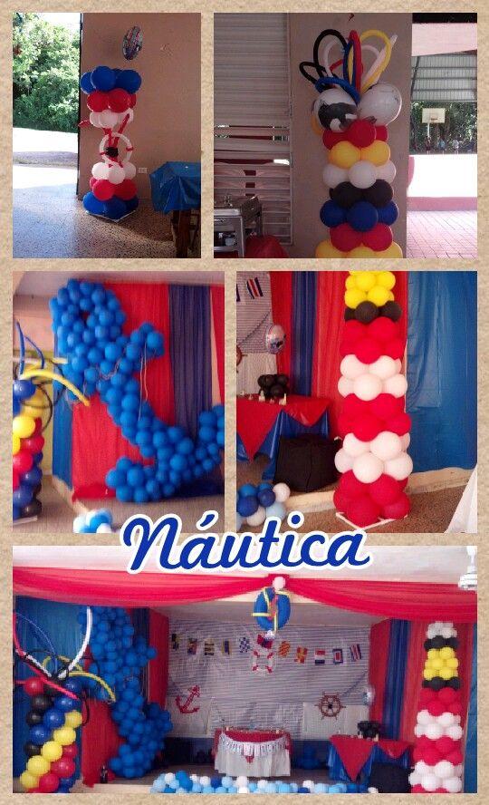 Decoraci n en globos na tica decoraciones pinterest for Anchor decoration party