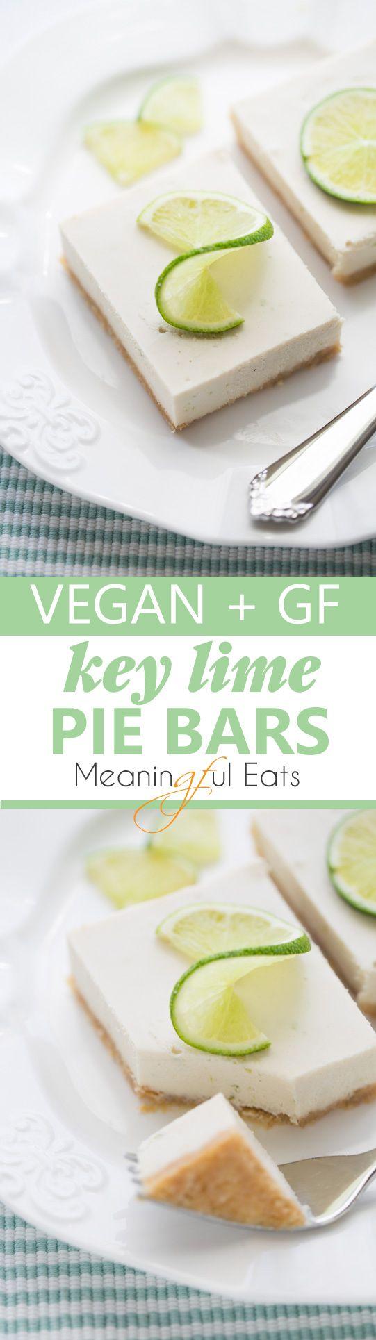 Vegan & Gluten-Free Key Lime Pie Bars! Creamy, tart and so easy to make!