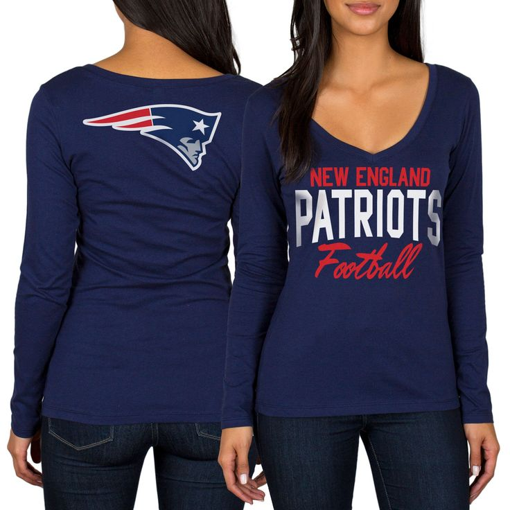 New England Patriots Women's Direct Snap V-Neck Long Sleeve T-Shirt - Navy