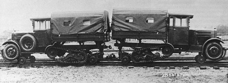 Wz. 34 halftrack truck with a rails-riding device. It was installed on a standard vehicle, and enabled riding on the rails. The car was driven normally by its tracks.
