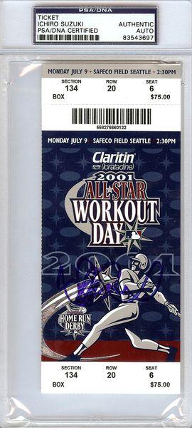 Ichiro Suzuki Autographed 2001 All Star Game Homerun Derby Ticket PSA/DNA #83543697