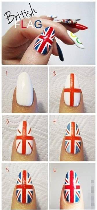 Como hacer uñas de la bandera de Reino Unido paso a paso