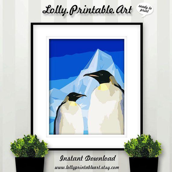 Unique Printable Art (Penguin Blue Iceberg) by LollyPrintableArt