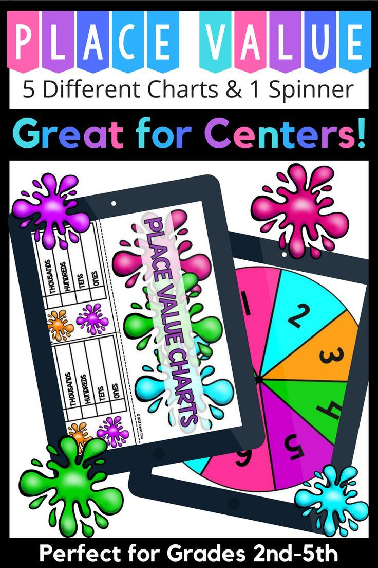 place value charts spinner for grades 2nd 5th do you need a place value chart a fun place value math center or place value charts for an interactive  [ 736 x 1104 Pixel ]