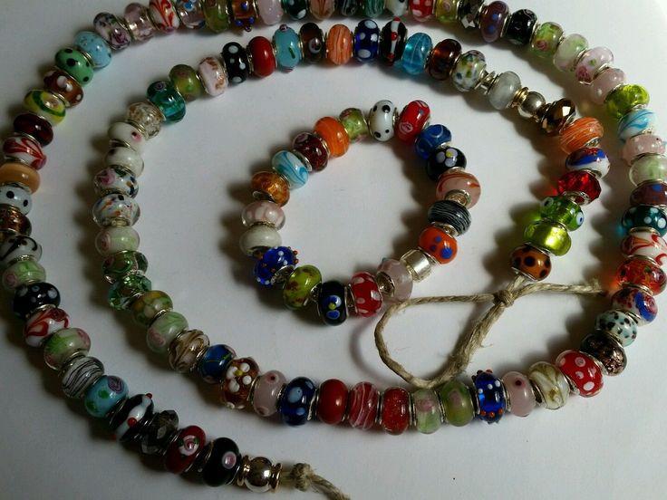 Vintage to Now 925 Murano Bead Lot 100 Lampwork Foil Charm Sterling Bracelet…