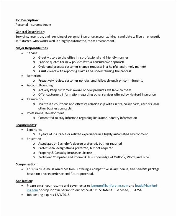 Insurance Agent Resume Job Description Inspirational Sample
