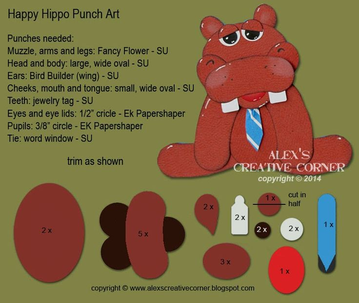 Alex's Creative Corner: Happy Hippo Punch Art Instructions