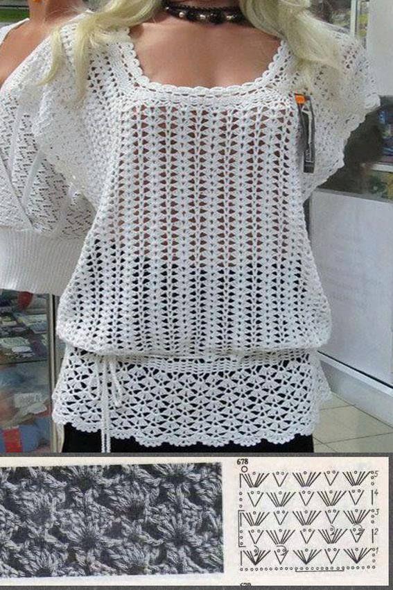 Crochemania: Blusa ou bata?