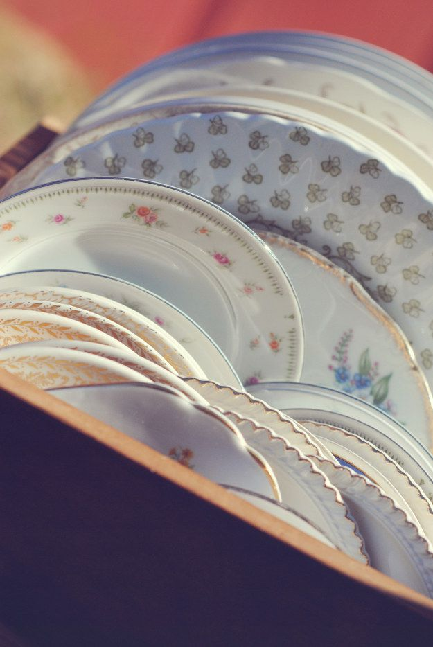 Thrift your dinnerware.   18 Ways Real People Had Their Dream Weddings For $5,000 Or Less
