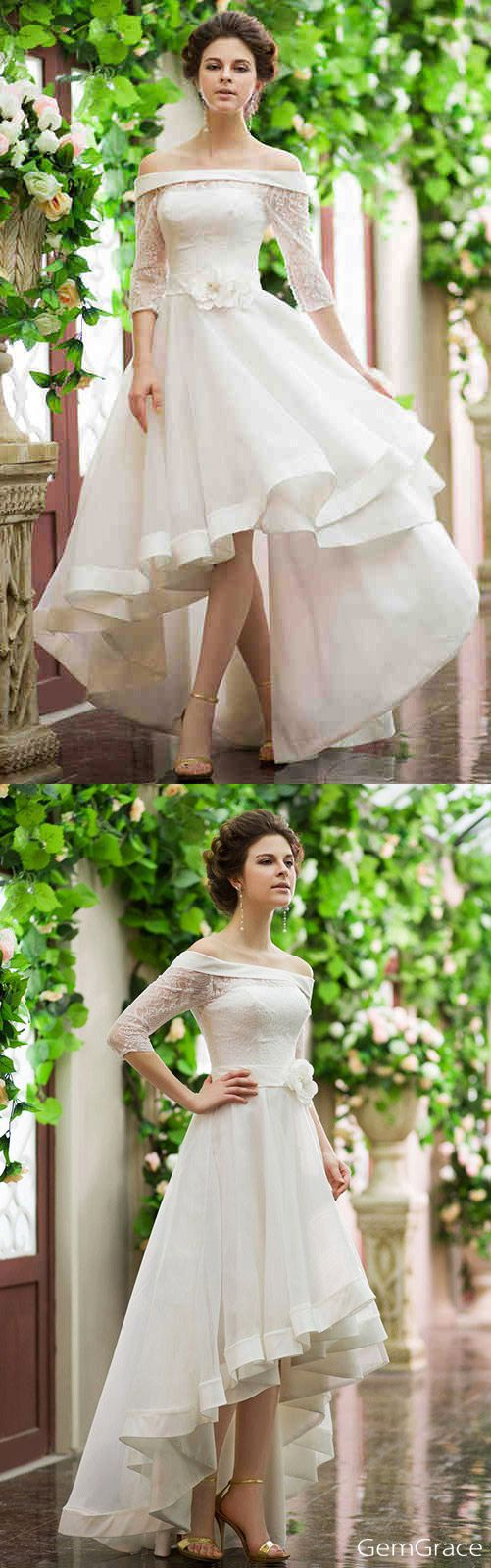 Finally found my high low wedding dress style!! It is gorgeous with the off shoulder neckline and half lace sleeve. Wedding dresses for destination weddings. Trendy summer wedding dress that really fun for beach wedding too. Ready to run with it?